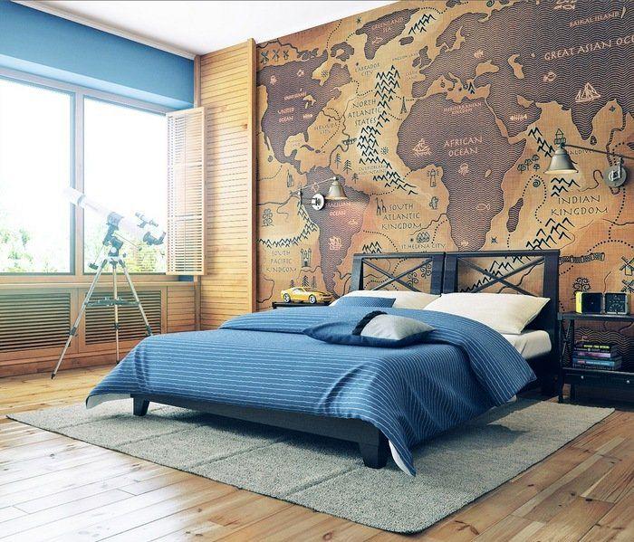 виниловая накоейка на стену с изображением карты мира