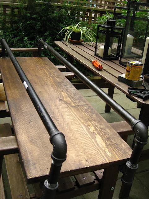барный столик из водопроводных труб