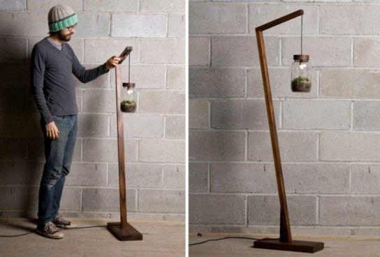 банка светильник с растениями