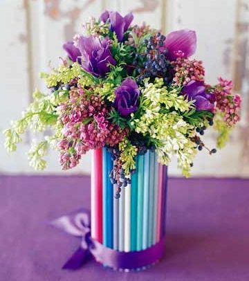 ваза из трубочек своими руками