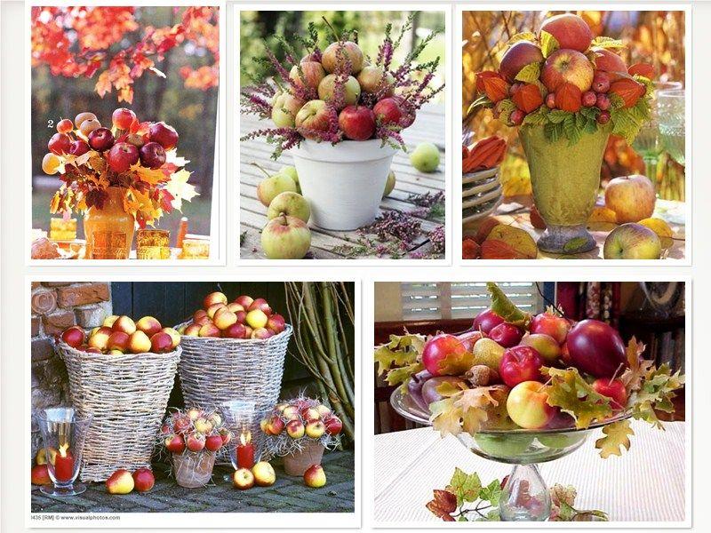 осенний декор стола с яблоками