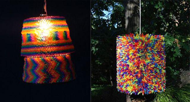 поделки из трубочек от коктейля - светильники