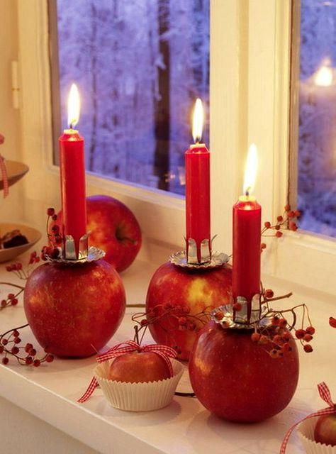 декор из яблок - подсвечники