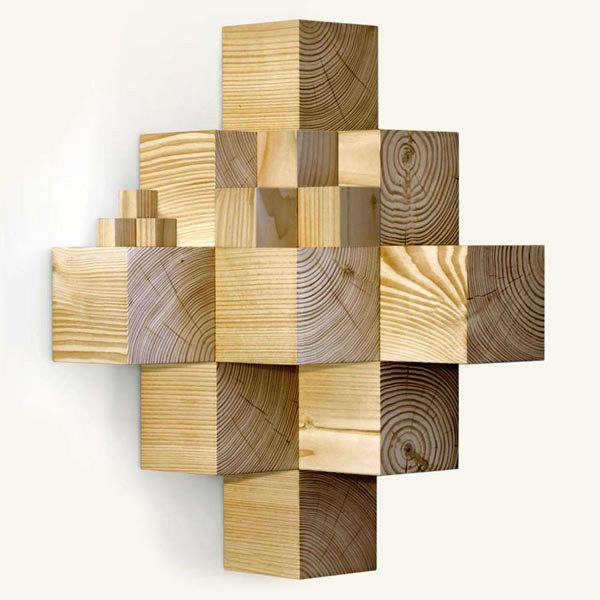 оригинальная угловая полка из деревянных кубиков