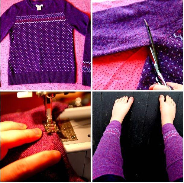 теплые гетры из свитера своими руками мастер-класс