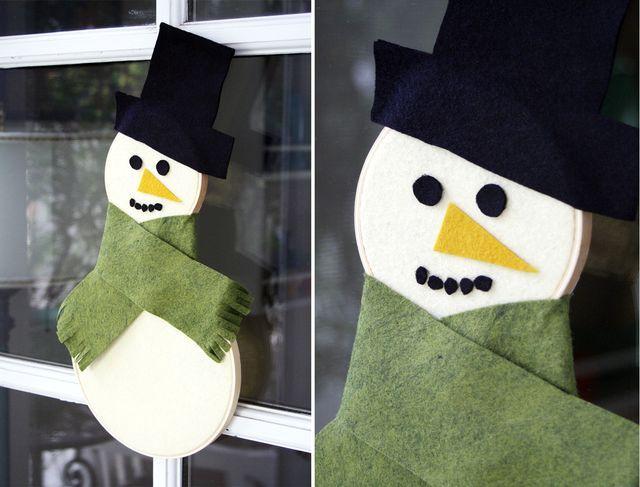 новогоднее украшение снеговик из пяльцев