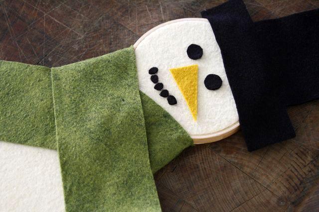 снеговик своими руками на пяльцах