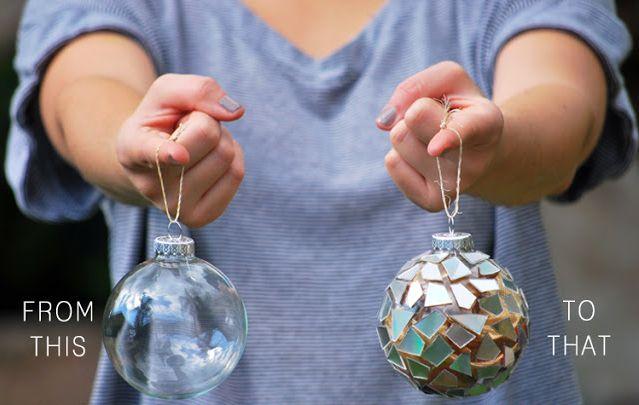 мастер - класс Декор елочных шаров мозаикой из CD