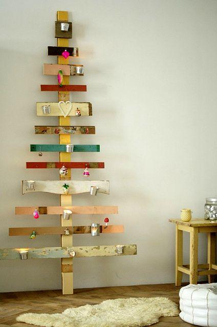 альтернативные новогодние елки из планок
