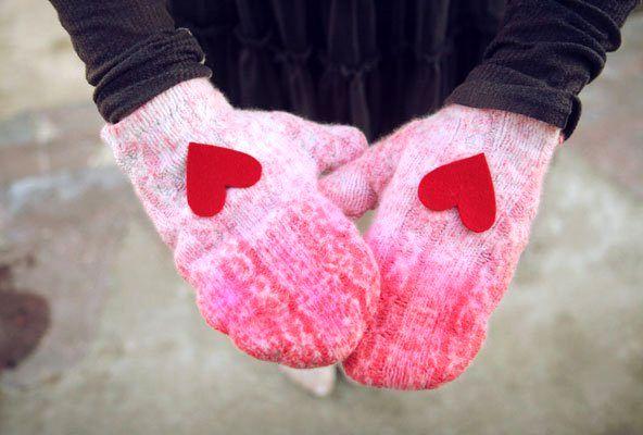 варежки с сердечками подарок на день св валентина