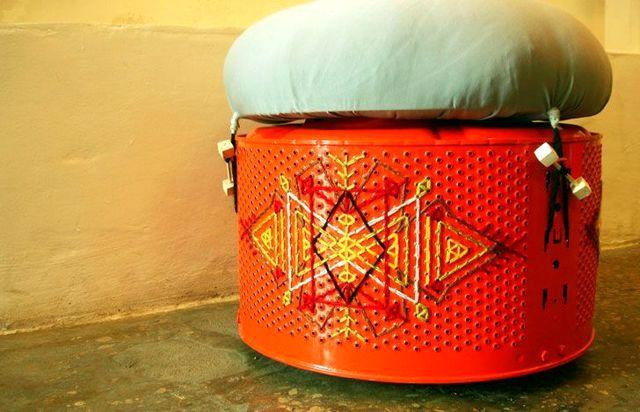 пуфик из барабана стиральной машины своими руками