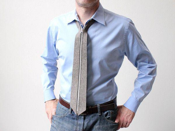 шерстяной галстук на молнии zip tie