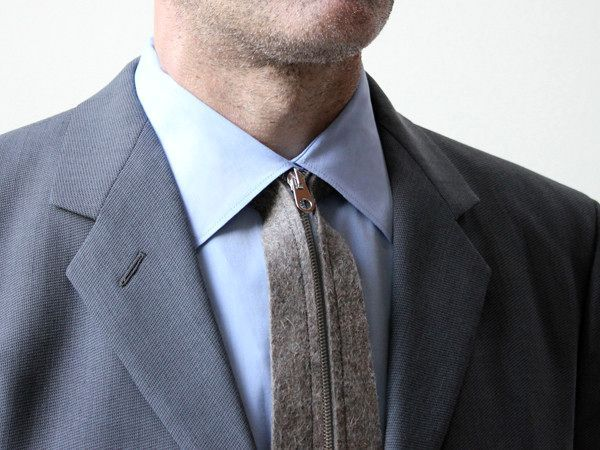 серый галстук на молнии zip tie