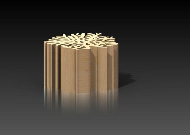 деревянный табурет в виде коралла