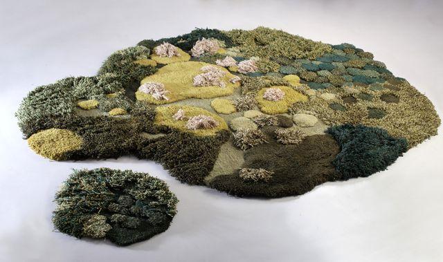 оригинальный коврик трава из натуральной шерсти
