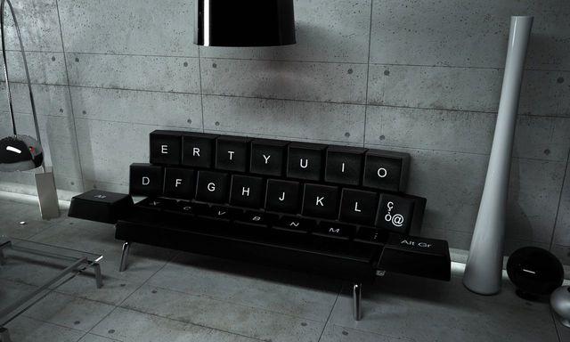 оригинальный диван-кровать в виде клавиатуры qwerty