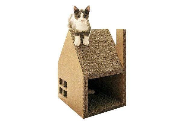 картонный дом-когтеточка для котов
