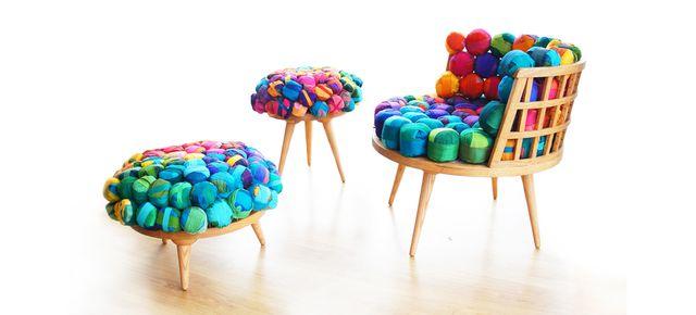 обивка стульев и пуфов шелковой тканью