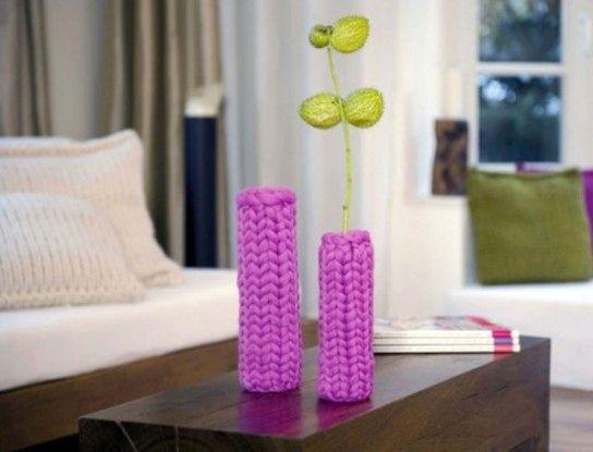 вязаные чехлы на вазочки
