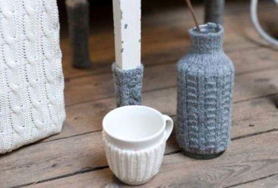 чехлы на мебель и вазы из старых свитеров