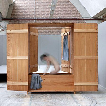 оригинальная деревянная закрытая ванна - шкаф
