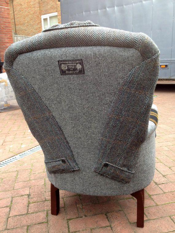 обивка кресла из мужского пальто