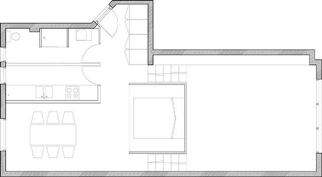 план квартиры с подвесной спальней