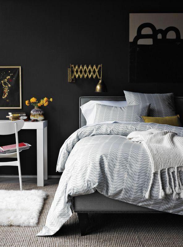 черно-белый стиль интерьера спальни