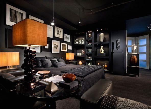 дизайн интерьера спальни в темных тонах