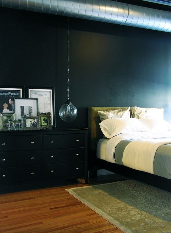 дизайн интерьера спальни в темном цвете