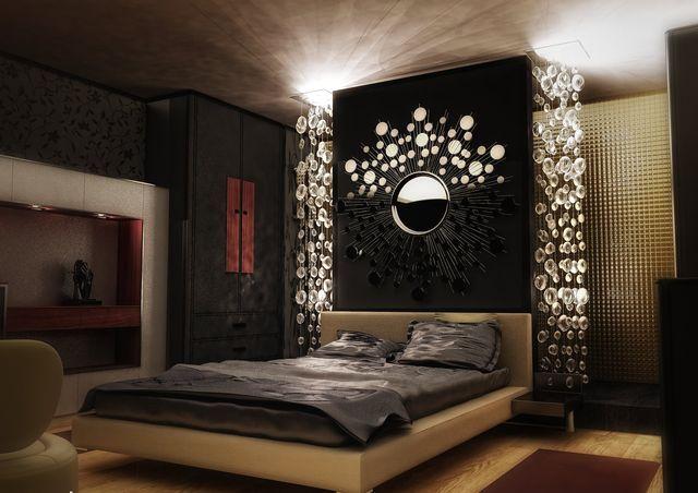 темные цвета в интерьере спальной комнаты