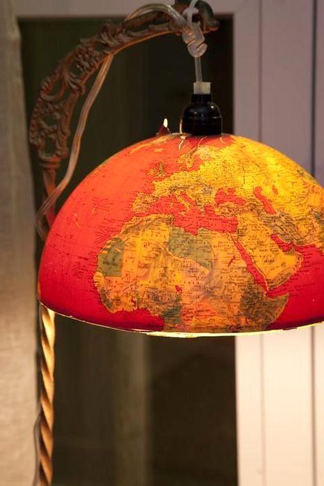 красный абажур напольного светильника своими руками из глобуса