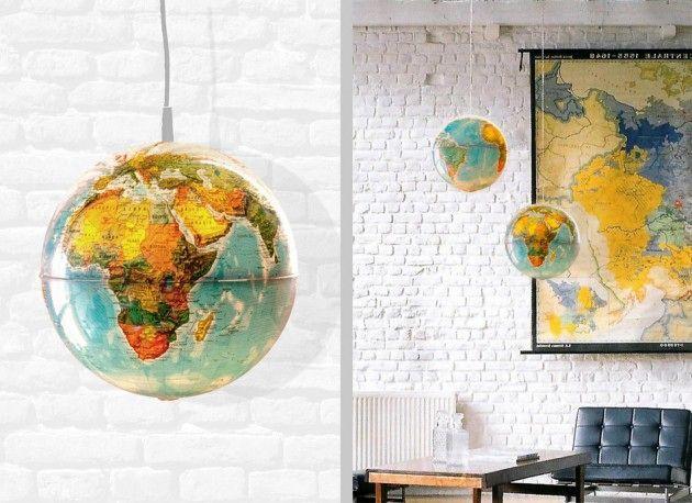 абажур своими руками для потолочного светильника из глобуса
