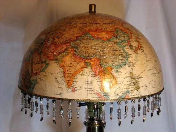 винтажный абажур для лампы из глобуса своими руками