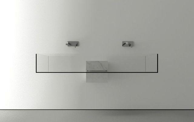 прозрачная невидимая раковина из стекла на двоих Kub Basin, вид спереди