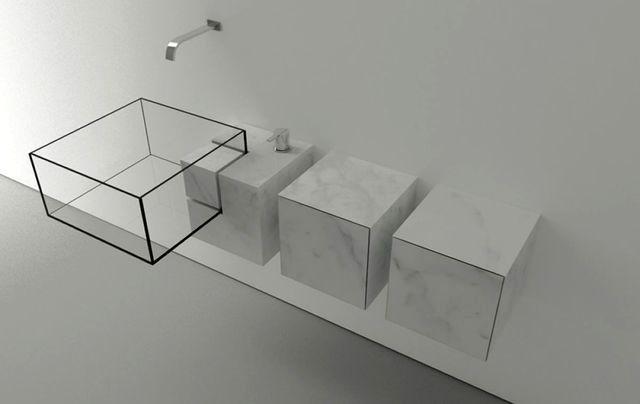 стеклянная раковина с ящиками Kub Basin