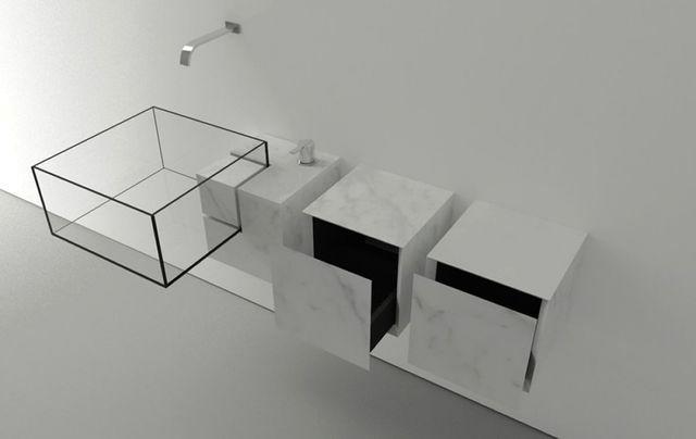 прозрачная стеклянная раковина из стекла с ящиками Kub Basin