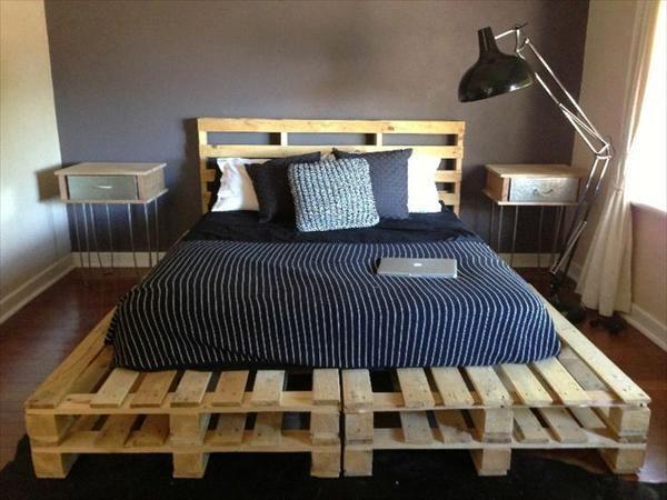 двухспальная кровать своими руками из деревянных поддонов с изголовьем