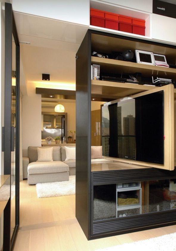комнатная перегородка с плазменным телевизором