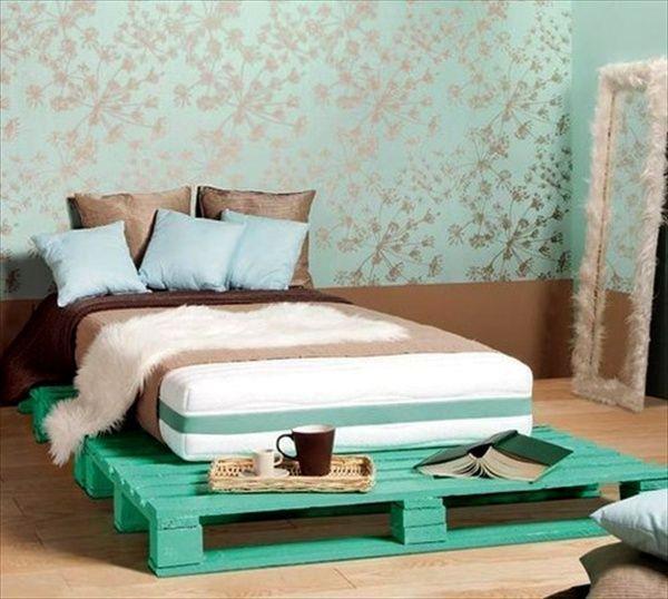 бирюзовый каркас кровать своими руками из палет