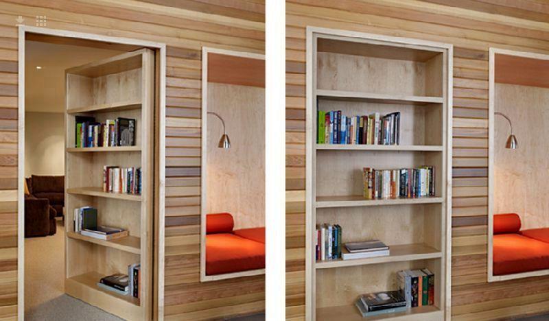 скрытые межкомнатные двери в виде книжного шкафа