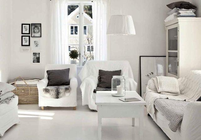 скандинавский стиль в интерьере белая гостиная с серыми акцентами