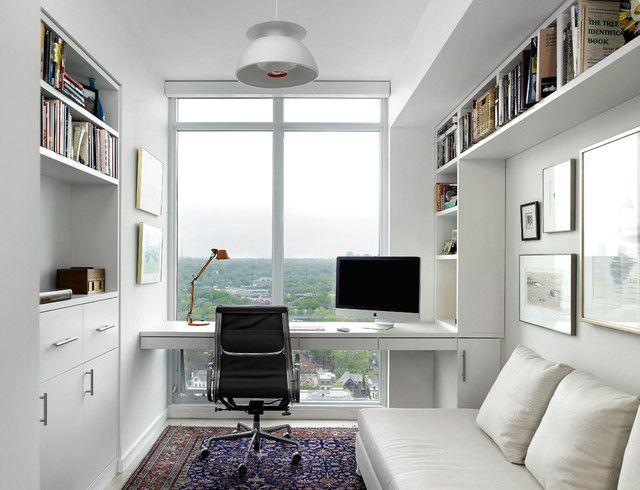 рабочее место с видом из окна в гостиной скандинавского стиля