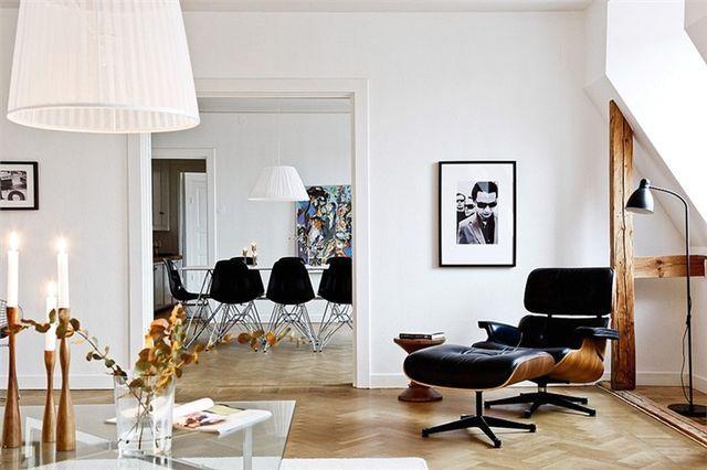 интерьер гостиной в скандинавском стиле с черными деталями