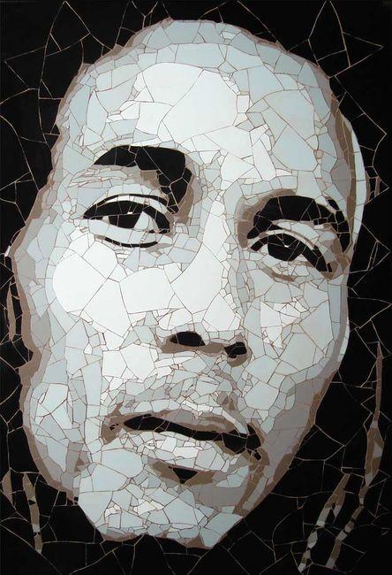 портрет Боба Марли - мозаика из битой плитки