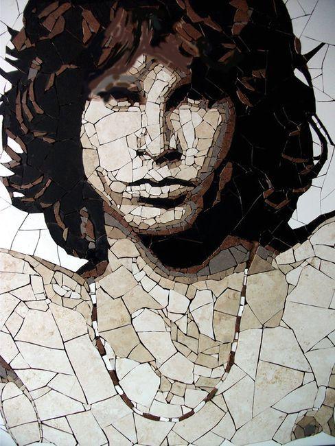 мозаика-портрет Джима Моррисона из куском керамической плитки от Эда Чапмана