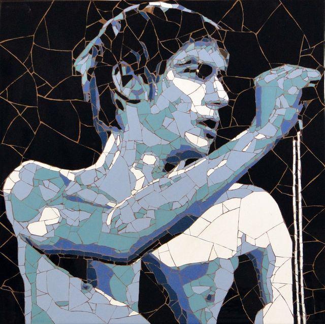 портрет Игги Поп - мозаика из битой плитки
