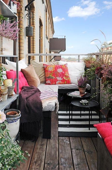дизайн открытого балкона в стиле бохо шик