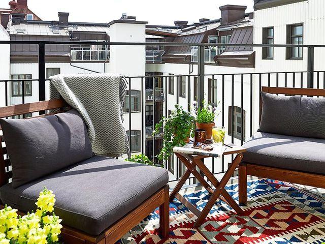 открытый балкон в стиле boho chic