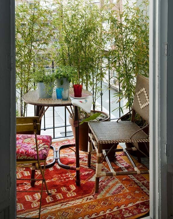дизайн балкона в бохо стиле